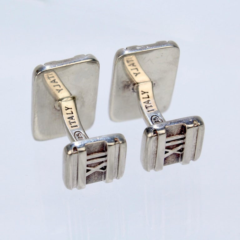 Tiffany & Co. Atlas Roman Numeral Sterling Silver Cufflinks For Sale 1