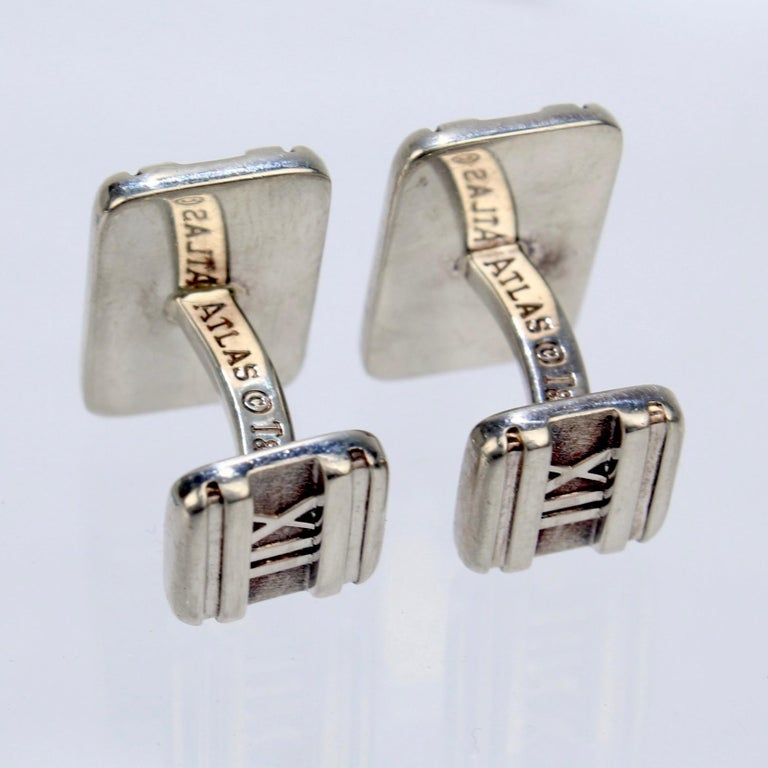 Tiffany & Co. Atlas Roman Numeral Sterling Silver Cufflinks For Sale 2