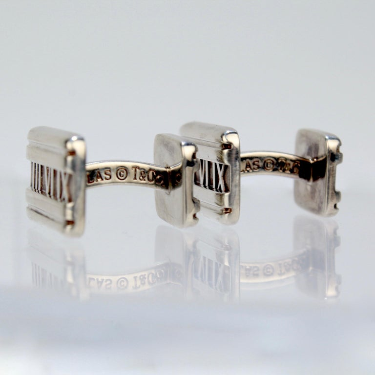 Tiffany & Co. Atlas Roman Numeral Sterling Silver Cufflinks For Sale 3