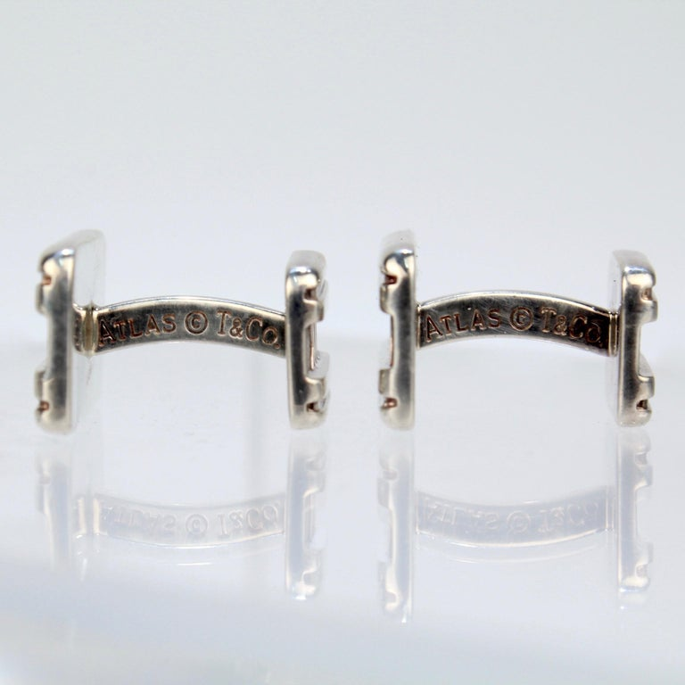 Tiffany & Co. Atlas Roman Numeral Sterling Silver Cufflinks For Sale 4