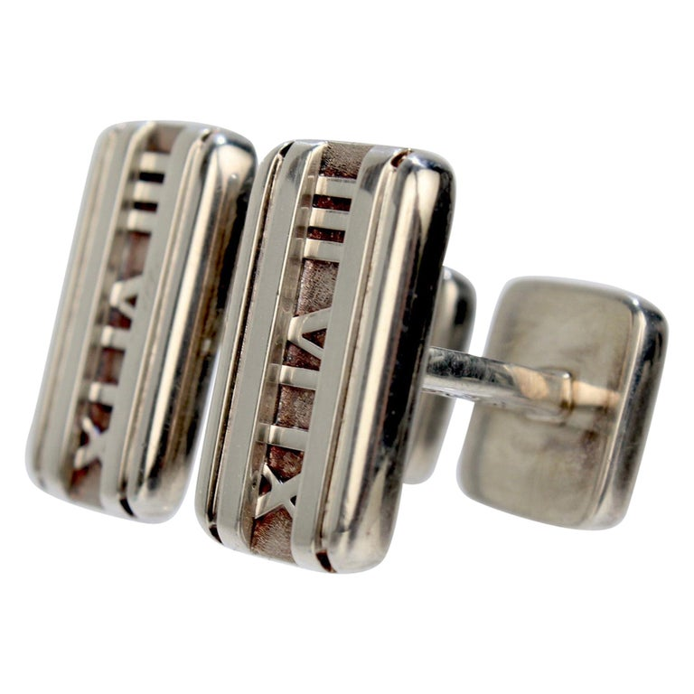 Tiffany & Co. Atlas Roman Numeral Sterling Silver Cufflinks For Sale