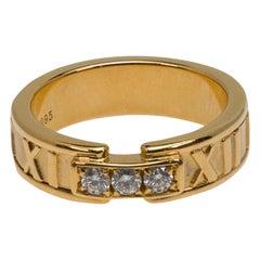 Tiffany & Co. Atlas Roman Numeral Wedding Diamond Ring in 18 Karat Gold
