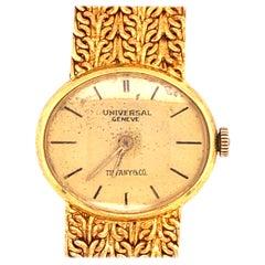 Tiffany & Co. Attrib.Universal Genève Ladies 18 Karat Yellow Gold Watch and Band