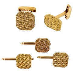Tiffany & Co. Basket Weave 18 Karat Yellow Gold Cufflinks Tuxedo Stud Set