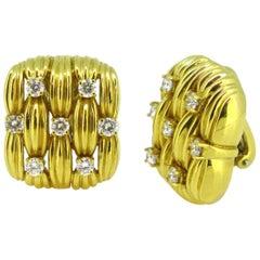 Tiffany & Co. Basket Weaves Diamonds Yellow Gold Clip Earrings