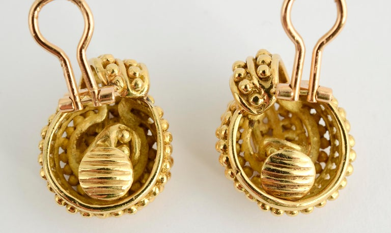 Modern Tiffany & Co. Beaded Gold Knot Earrings For Sale