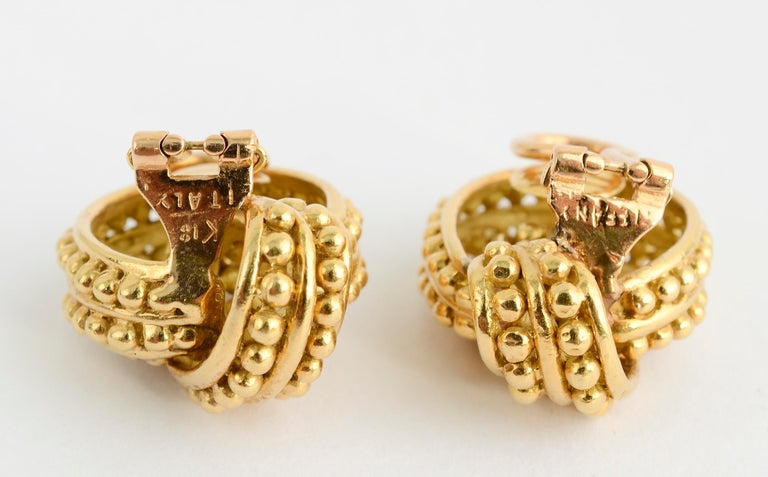 Tiffany & Co. Beaded Gold Knot Earrings In Excellent Condition For Sale In Darnestown, MD