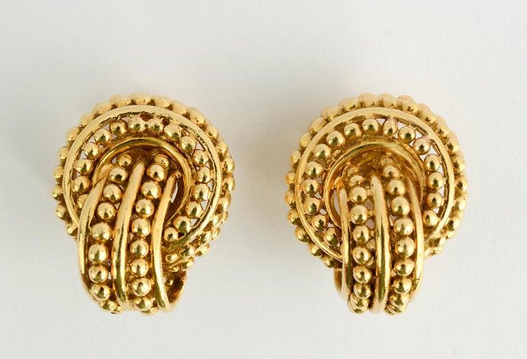Women's or Men's Tiffany & Co. Beaded Gold Knot Earrings For Sale