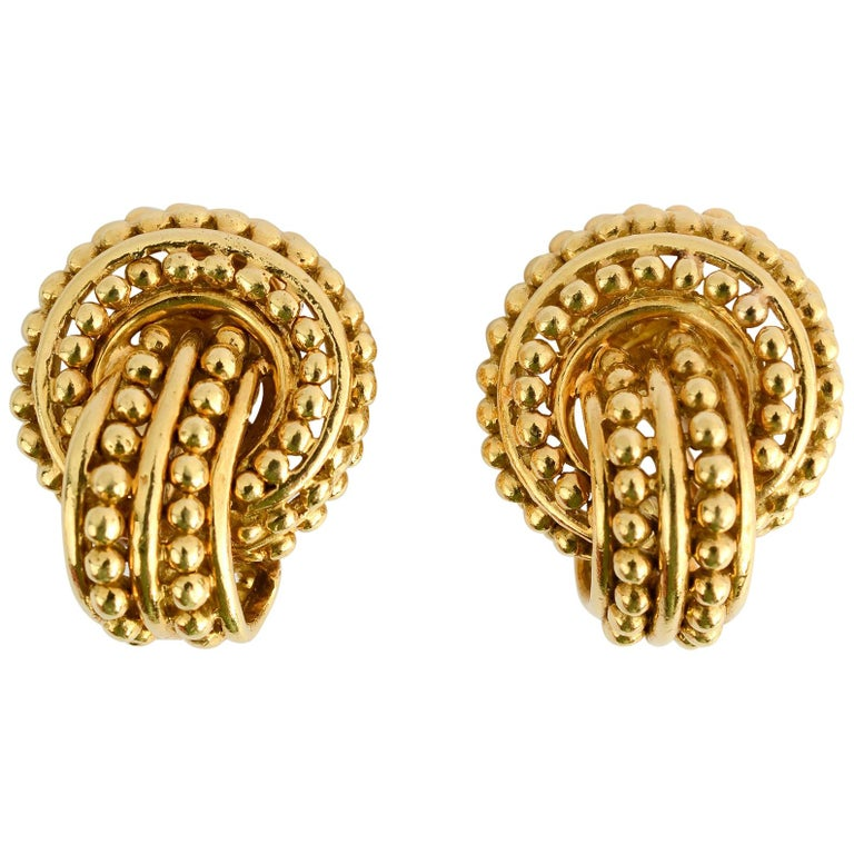 Tiffany & Co. Beaded Gold Knot Earrings For Sale