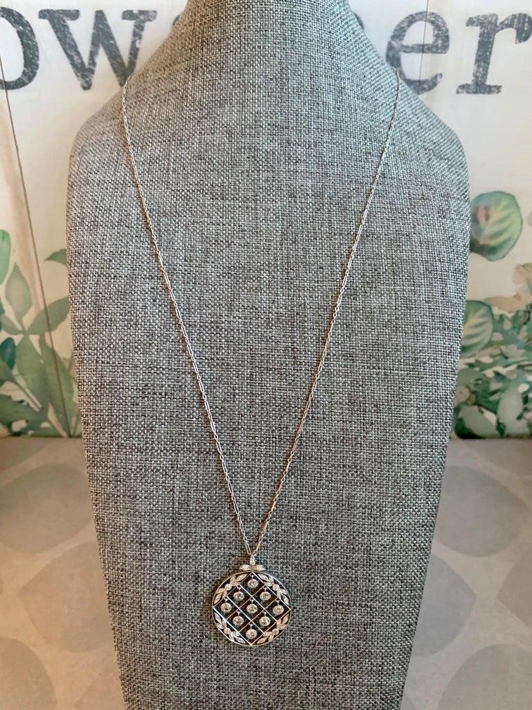 Tiffany & Co. Belle Époque Antique Platinum Diamond Pendant and Link Chain For Sale 5