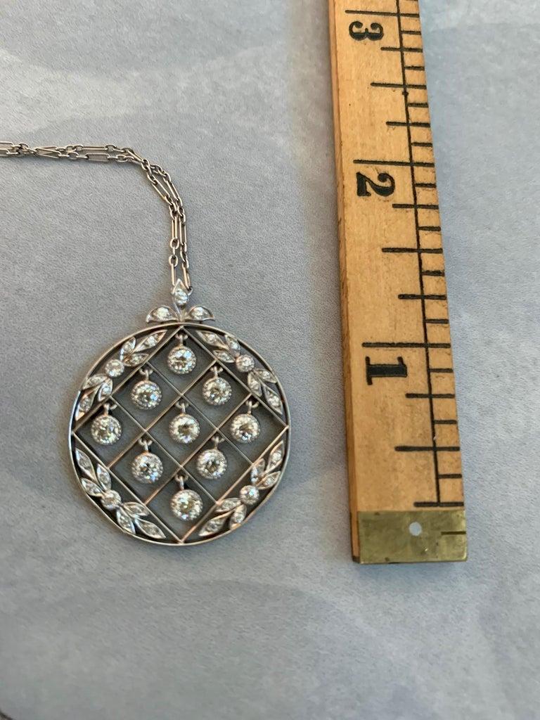 Tiffany & Co. Belle Époque Antique Platinum Diamond Pendant and Link Chain For Sale 6