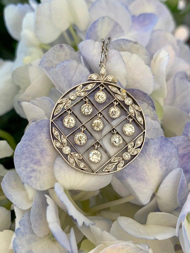 Tiffany & Co. Belle Époque Antique Platinum Diamond Pendant and Link Chain For Sale 7