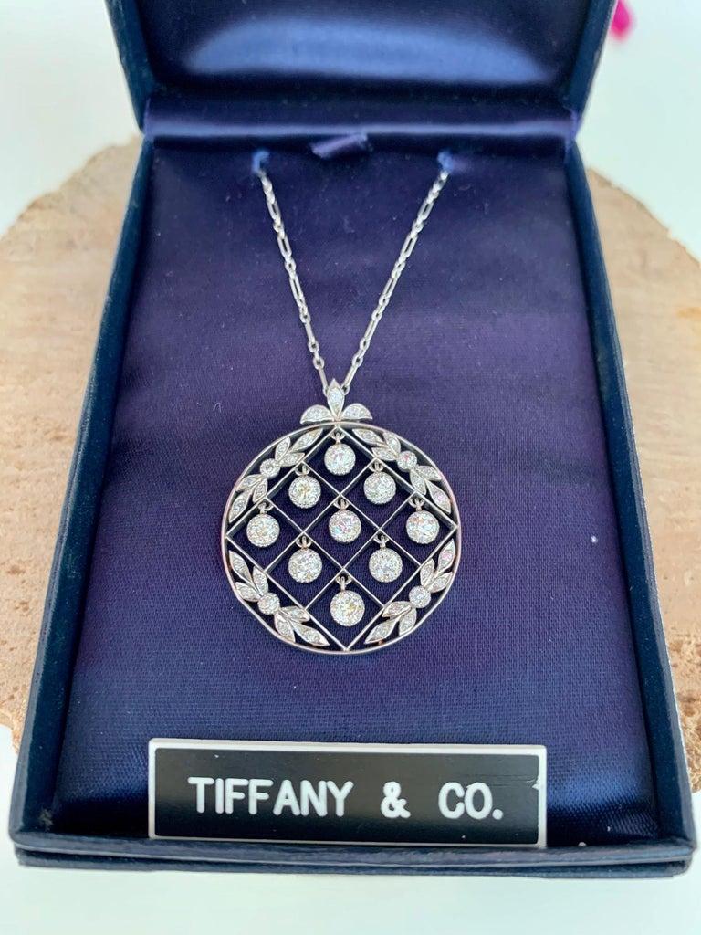 Tiffany & Co. Belle Époque Antique Platinum Diamond Pendant and Link Chain For Sale 8