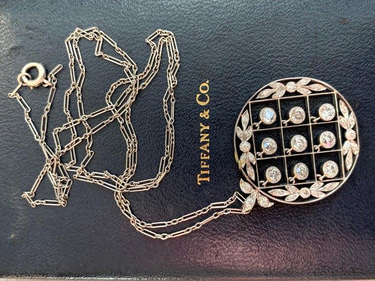 Tiffany & Co. Belle Époque Antique Platinum Diamond Pendant and Link Chain For Sale 9