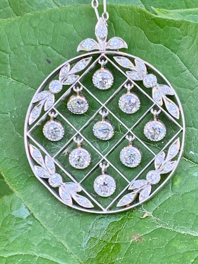 Tiffany & Co. Belle Époque Antique Platinum Diamond Pendant and Link Chain For Sale 10
