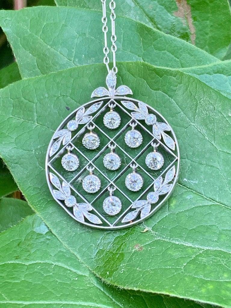 Tiffany & Co. Belle Époque Antique Platinum Diamond Pendant and Link Chain For Sale 11