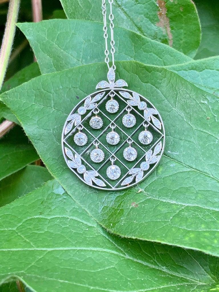 Tiffany & Co. Belle Époque Antique Platinum Diamond Pendant and Link Chain For Sale 12
