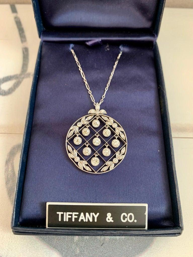 Old European Cut Tiffany & Co. Belle Époque Antique Platinum Diamond Pendant and Link Chain For Sale