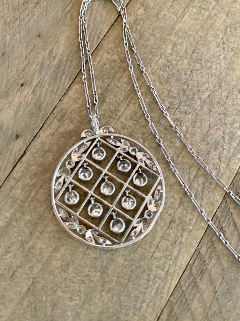 Women's Tiffany & Co. Belle Époque Antique Platinum Diamond Pendant and Link Chain For Sale