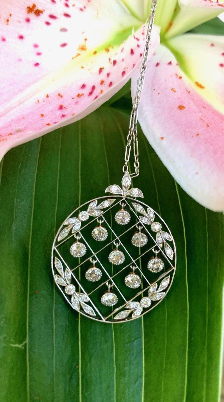 Tiffany & Co. Belle Époque Antique Platinum Diamond Pendant and Link Chain For Sale 1