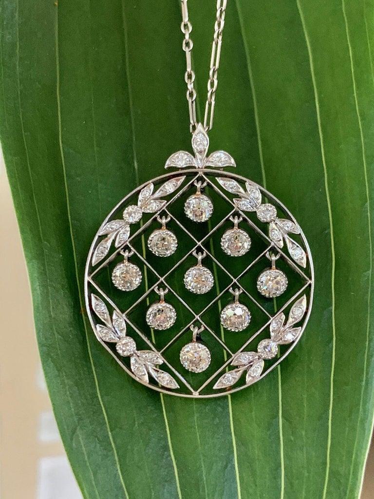 Tiffany & Co. Belle Époque Antique Platinum Diamond Pendant and Link Chain For Sale 2