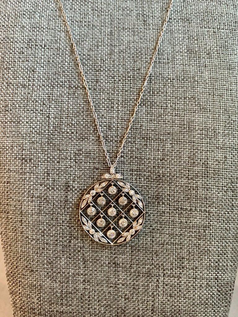 Tiffany & Co. Belle Époque Antique Platinum Diamond Pendant and Link Chain For Sale 3