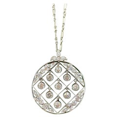 Tiffany & Co. Belle Epoque Antique Platinum Diamond Pendant and Link Chain