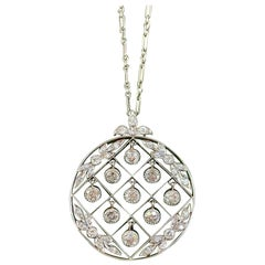 Tiffany & Co. Belle Époque Antique Platinum Diamond Pendant and Link Chain