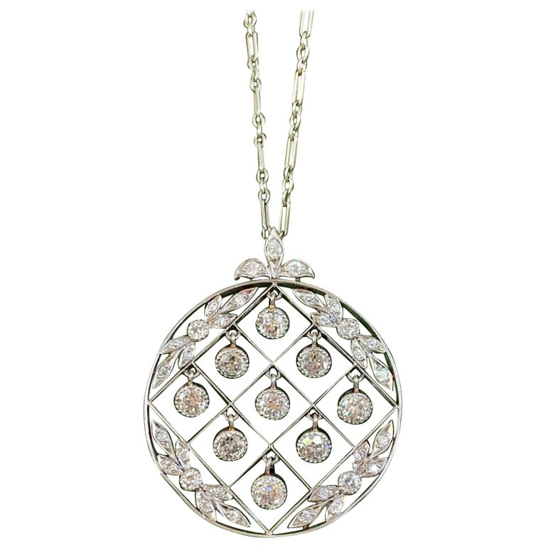 Tiffany & Co. Belle Époque Antique Platinum Diamond Pendant and Link Chain For Sale