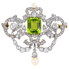 Tiffany & Co. Belle Époque Peridot Diamond Pearl Gold Platinum Brooch Pendant