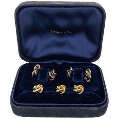 Tiffany & Co. Black Enamel Yellow Gold Tuxedo Stud Cufflink Set