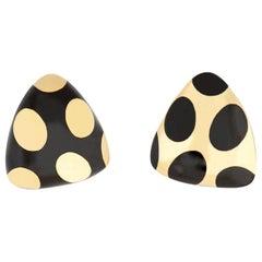 Tiffany & Co. Black Jade and Gold Polka Dot Earrings