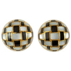 Tiffany & Co. Black Jade and Mother of Pearl Earrings