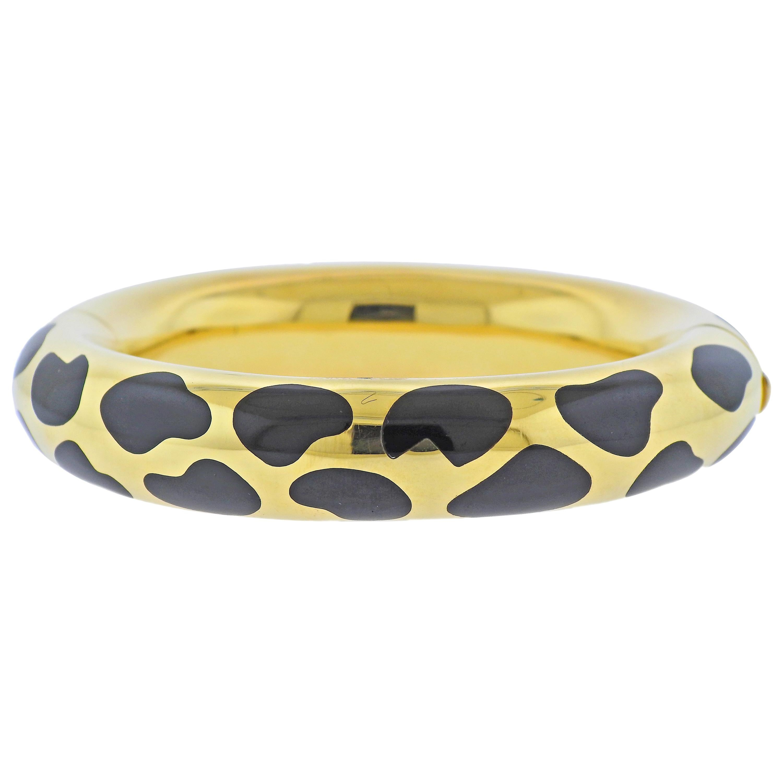 Tiffany & Co. Black Jade Inlay Gold Bangle Bracelet