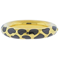Tiffany & Co. Black Jade Inlay Gold Bangle Bracelet