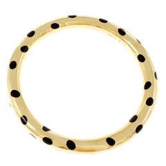 Tiffany & Co. Black Jadeite Jade Gold Bangle Bracelet