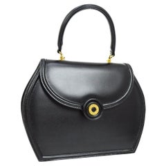 Tiffany & Co Black Leather Small Kelly Style Evening Top Handle Satchel Flap Bag