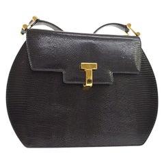Tiffany & Co Black Lizard Exotic Skin Leather 'T' Gold Mini Shoulder Flap Bag
