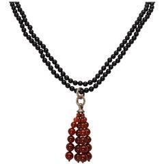 Tiffany & Co. Black Onyx and Carnelian Bead Tassel Necklace