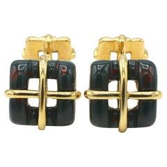 Tiffany & Co. Bloodstone & Gold Square Box Cufflinks