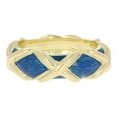 Tiffany & Co. Blue Enamel X Band, 18 Karat Yellow Gold Designer Ring