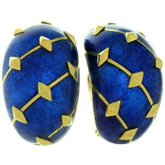Tiffany & Co. Blue Enamel Yellow Gold Clip-On Earrings