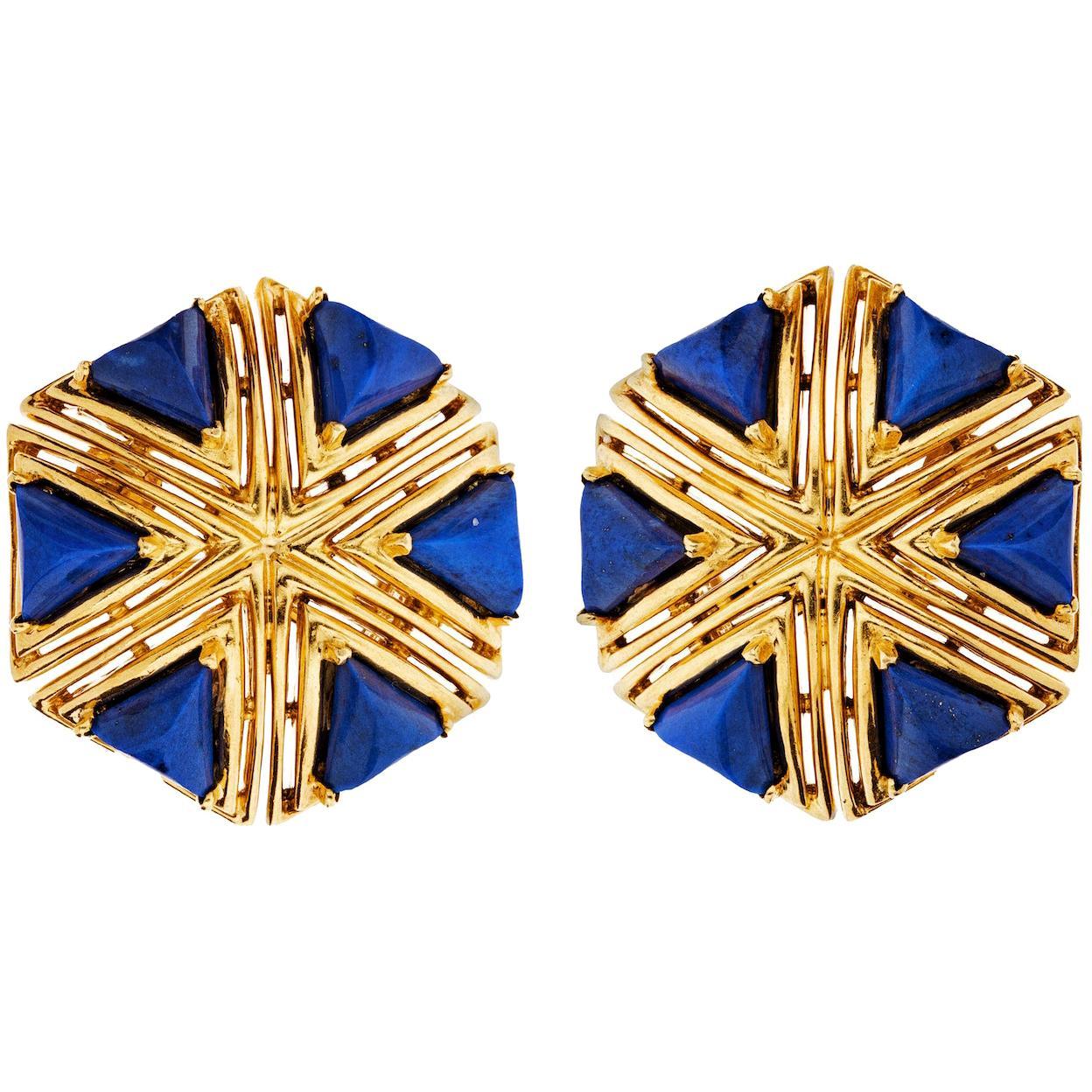 Tiffany & Co. Blue Lapis Gold Vintage Eclectic Bohemian 1970s Earrings