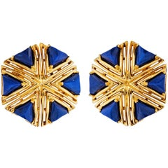 Tiffany & Co. Blue Lapis Gold Vintage Eclectic Bohemian 1970s Earrings