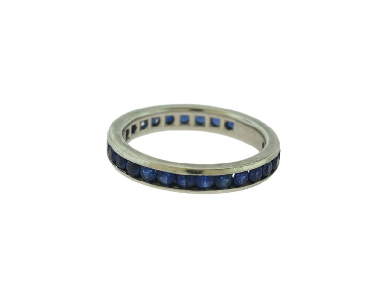 Tiffany & Co. Blue Sapphire Platinum Eternity Band Ring In Good Condition For Sale In Miami, FL