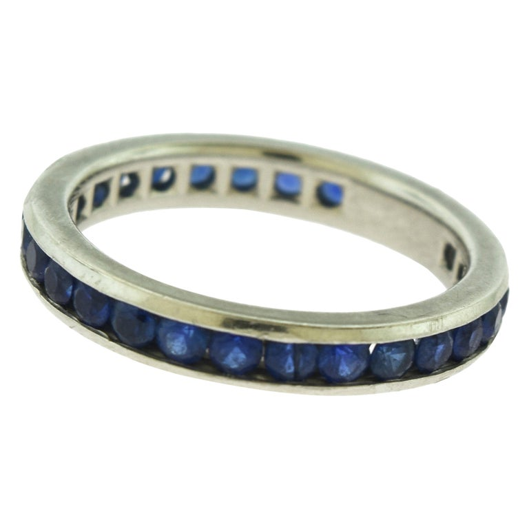 Tiffany & Co. Blue Sapphire Platinum Eternity Band Ring For Sale