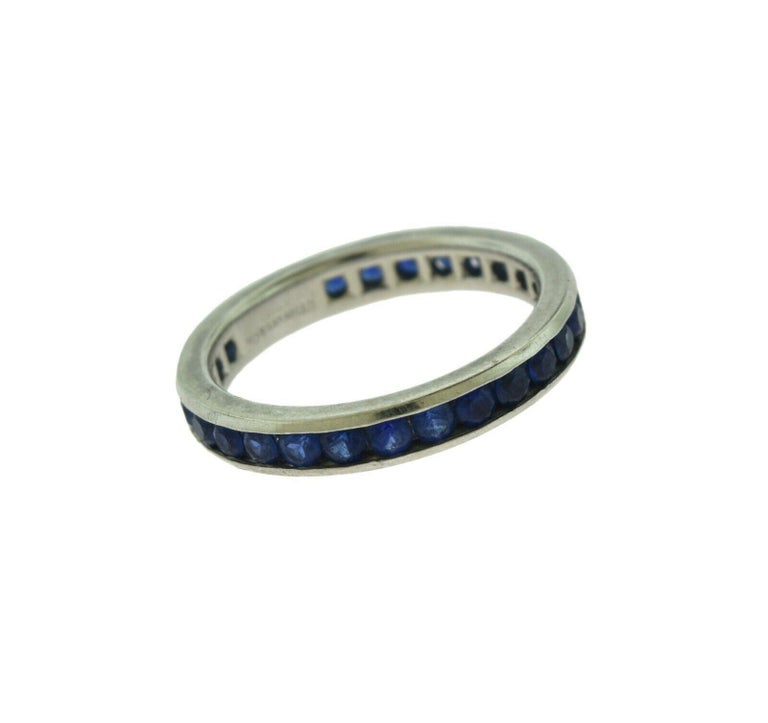 Designer: Tiffany & Co.  Style: Eternity Band  Metal: Platinum   Metal Purity: 950   Stone:  Blue Sapphire  Ring Size: 5.5   Band Width: 3 mm   Total Carat  Weight :  Approx. 1.35 ct  Total Item Weight (grams):  4.75 g  Hallmarks: Tiffany & Co.;