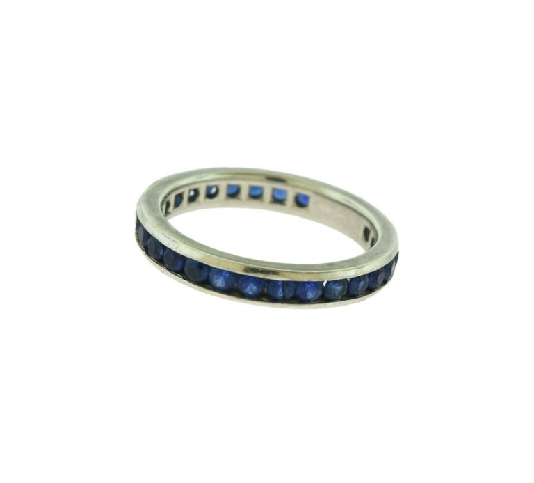 Women's or Men's Tiffany & Co. Blue Sapphire Platinum Eternity Band For Sale