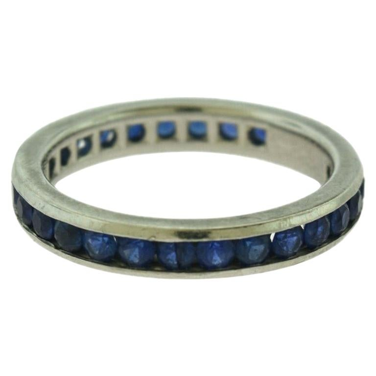 Tiffany & Co. Blue Sapphire Platinum Eternity Band For Sale