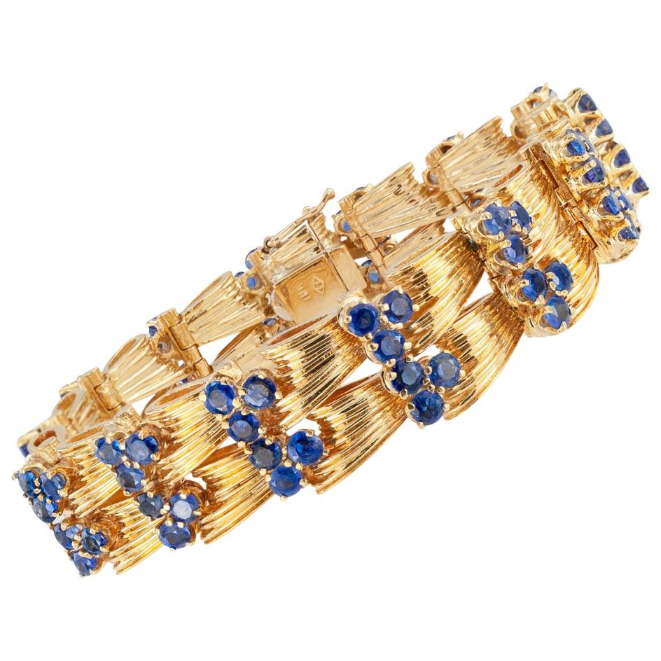 Tiffany & Co. Blue Sapphire Yellow Gold Link Bracelet